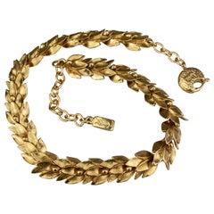 Vintage YVES SAINT LAURENT Ysl by Robert Goossens Wheat Choker Necklace