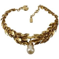 Vintage YVES SAINT LAURENT Ysl by Robert Goossens Wheat Pearl Drop Necklace