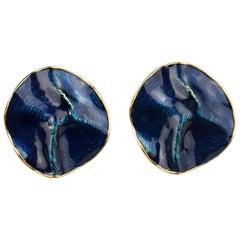 Vintage YVES SAINT LAURENT Ysl by Robert Goossens Wrinkled Blue Enamel Disc Earr