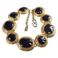 Vintage YVES SAINT LAURENT Ysl Byzantine Black Cabochon Link Necklace