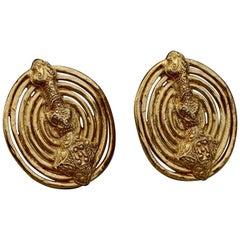 Vintage YVES SAINT LAURENT Ysl Byzantine Coiled Disc Earrings