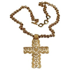 Vintage YVES SAINT LAURENT Ysl Byzantine Cross Necklace