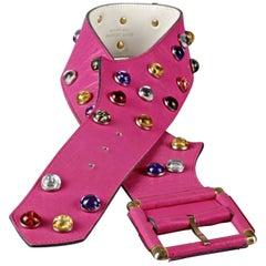Vintage YVES SAINT LAURENT Ysl Cabochon Studded Pink Belt