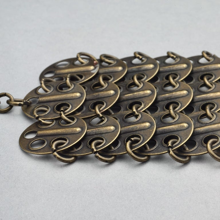 Vintage YVES SAINT LAURENT Ysl Chainmail Disc Bronze Choker Necklace For Sale 8