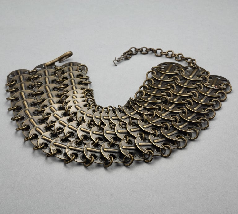 Vintage YVES SAINT LAURENT Ysl Chainmail Disc Bronze Choker Necklace For Sale 2