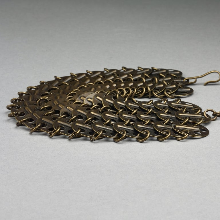 Vintage YVES SAINT LAURENT Ysl Chainmail Disc Bronze Choker Necklace For Sale 3