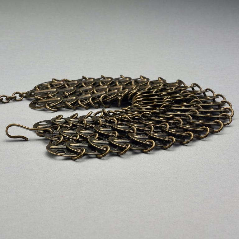 Vintage YVES SAINT LAURENT Ysl Chainmail Disc Bronze Choker Necklace For Sale 4