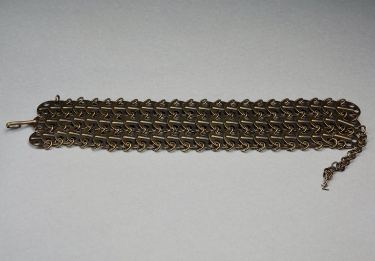 Vintage YVES SAINT LAURENT Ysl Chainmail Disc Bronze Choker Necklace For Sale 5