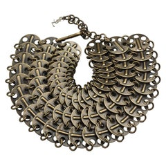 Vintage YVES SAINT LAURENT Ysl Chainmail Disc Bronze Choker Necklace