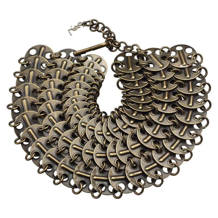 Vintage YVES SAINT LAURENT Ysl Chainmail Disc Bronze Choker Necklace For Sale