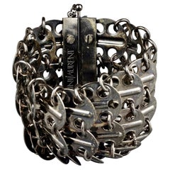 Vintage YVES SAINT LAURENT Ysl Chainmail Disc Gunmetal Cuff Bracelet