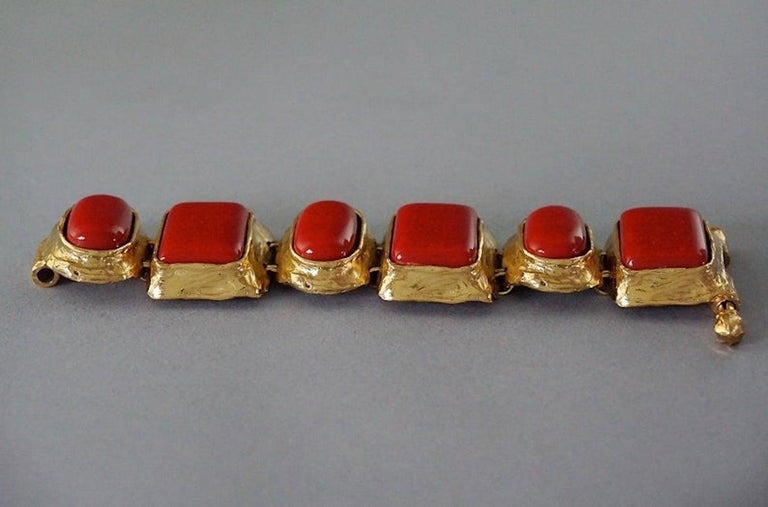 Women's Vintage YVES SAINT LAURENT Ysl Chunky Geometric Coral Cabochon Bracelet For Sale