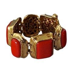 Vintage YVES SAINT LAURENT Ysl Chunky Geometric Coral Cabochon Bracelet