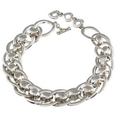 Vintage YVES SAINT LAURENT Ysl Chunky Silver Chain Choker Necklace