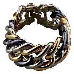 Vintage YVES SAINT LAURENT Ysl Chunky Tricolour Chain Bracelet