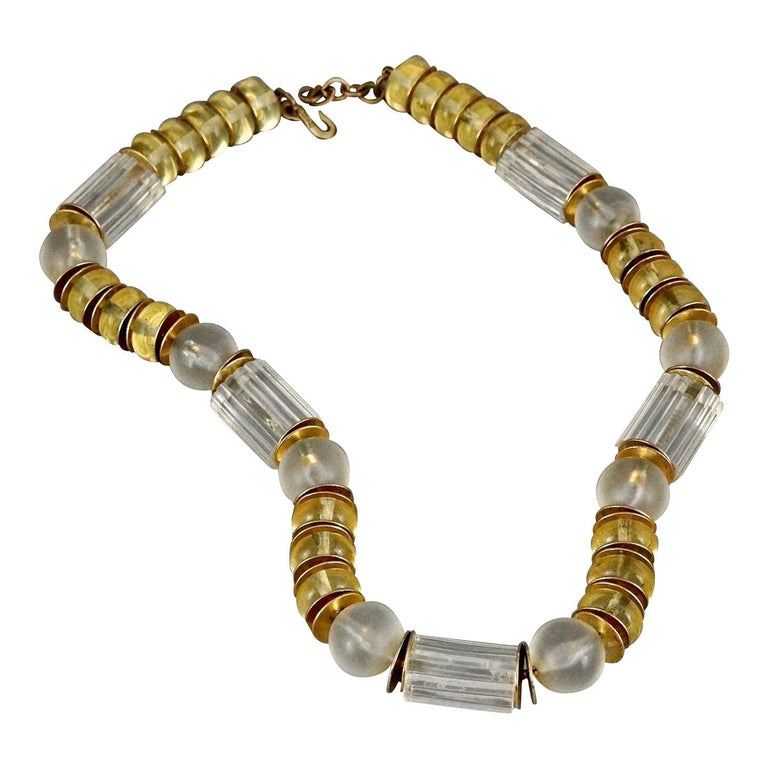 Vintage YVES SAINT LAURENT Ysl Citrine Clear Lucite Necklace For Sale