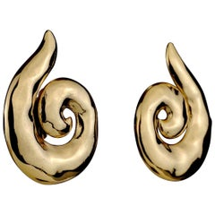 Vintage YVES SAINT LAURENT Ysl Coiled Spiral Earrings