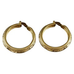 Vintage YVES SAINT LAURENT Ysl Creole Hoop Gilt Rope Pattern Earrings