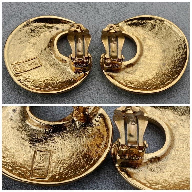 Vintage YVES SAINT LAURENT Ysl Crescent Moon Earrings 7
