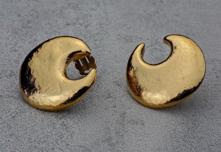 Vintage YVES SAINT LAURENT Ysl Crescent Moon Earrings 3