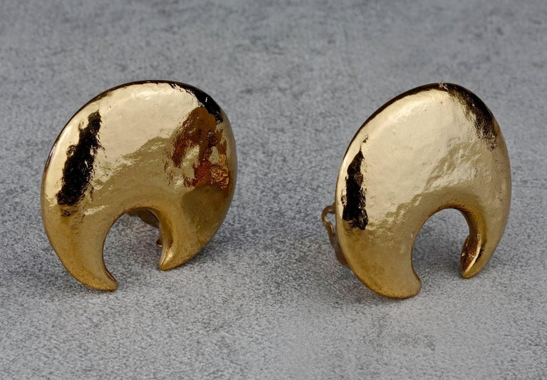 Vintage YVES SAINT LAURENT Ysl Crescent Moon Earrings 5
