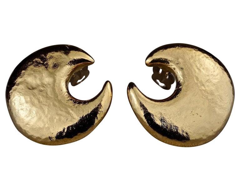 Vintage YVES SAINT LAURENT Ysl Crescent Moon Earrings