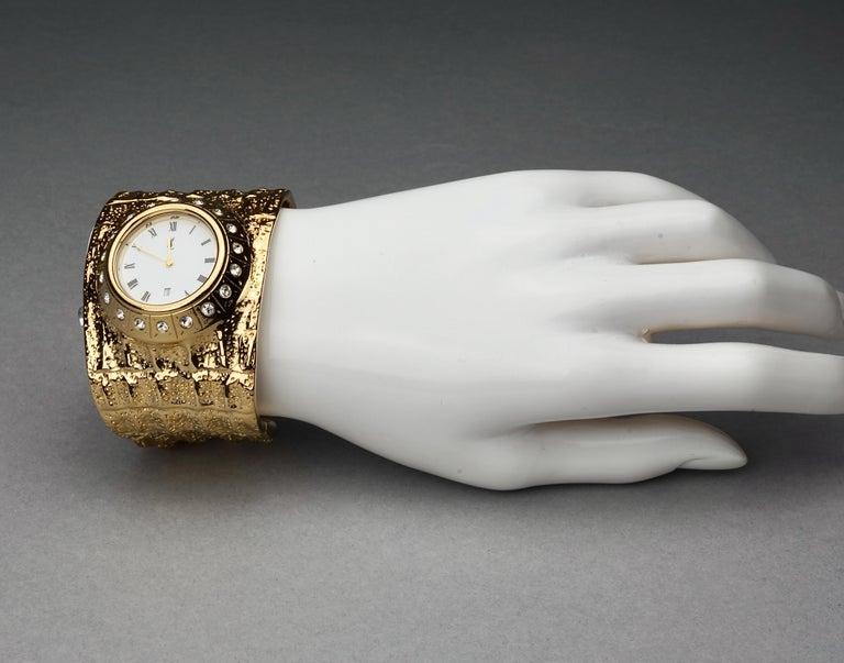 Vintage YVES SAINT LAURENT Ysl Crocodile Pattern Bracelet Cuff Watch Limited Ed For Sale 6