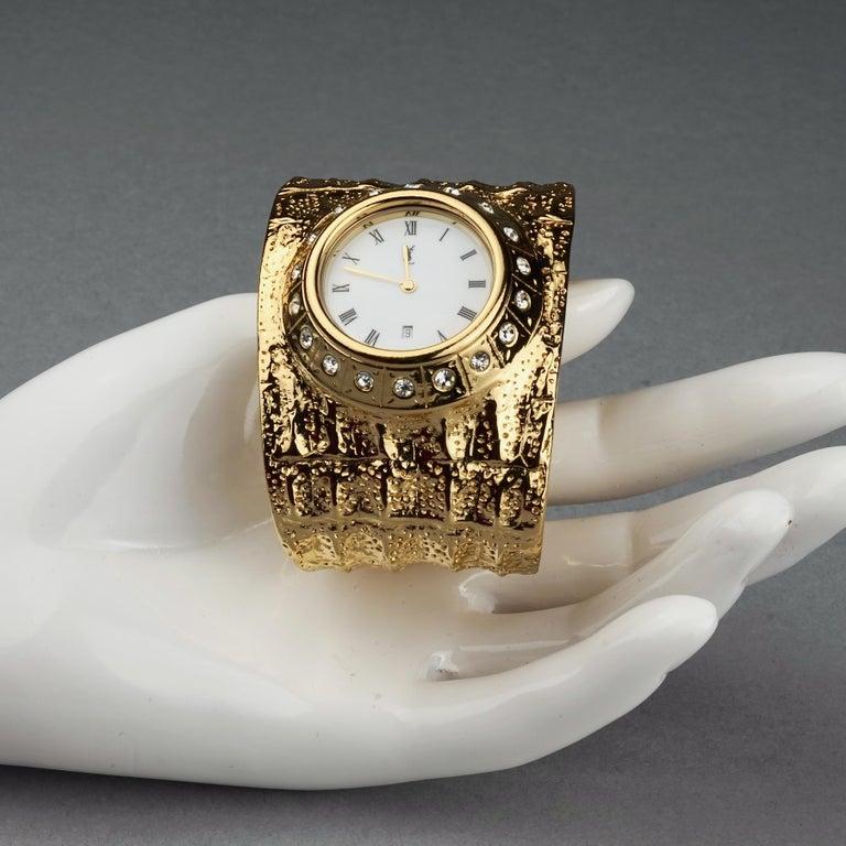 Vintage YVES SAINT LAURENT Ysl Crocodile Pattern Bracelet Cuff Watch Limited Ed For Sale 7