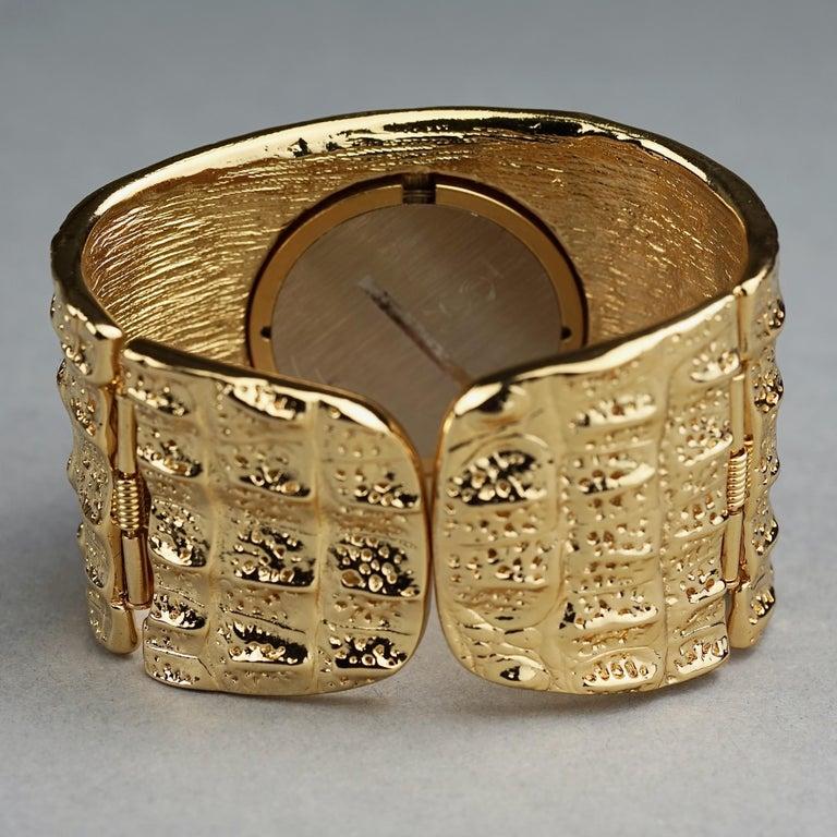 Vintage YVES SAINT LAURENT Ysl Crocodile Pattern Bracelet Cuff Watch Limited Ed For Sale 8