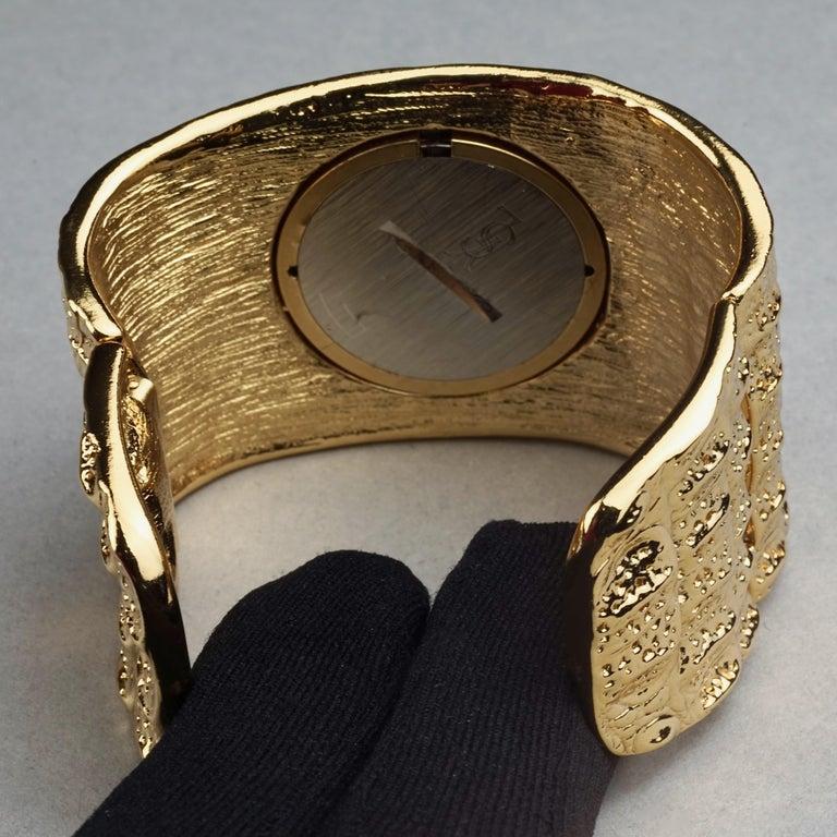 Vintage YVES SAINT LAURENT Ysl Crocodile Pattern Bracelet Cuff Watch Limited Ed For Sale 9