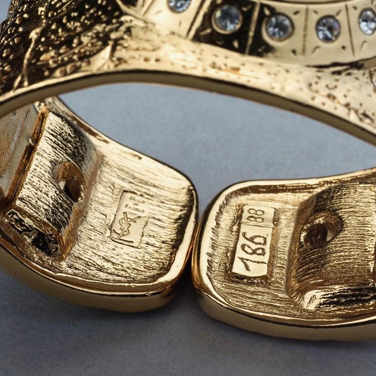 Vintage YVES SAINT LAURENT Ysl Crocodile Pattern Bracelet Cuff Watch Limited Ed For Sale 10