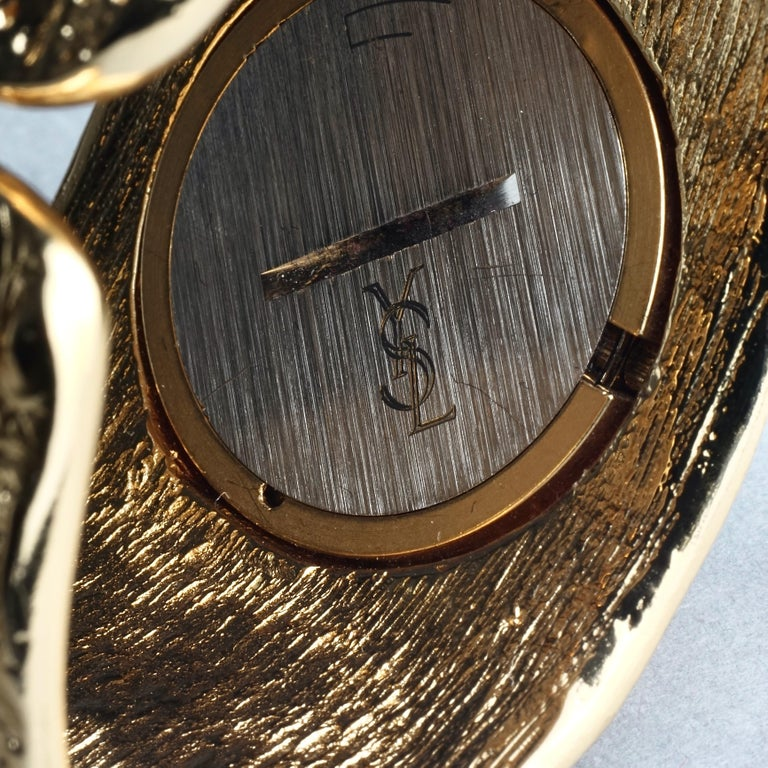 Vintage YVES SAINT LAURENT Ysl Crocodile Pattern Bracelet Cuff Watch Limited Ed For Sale 11