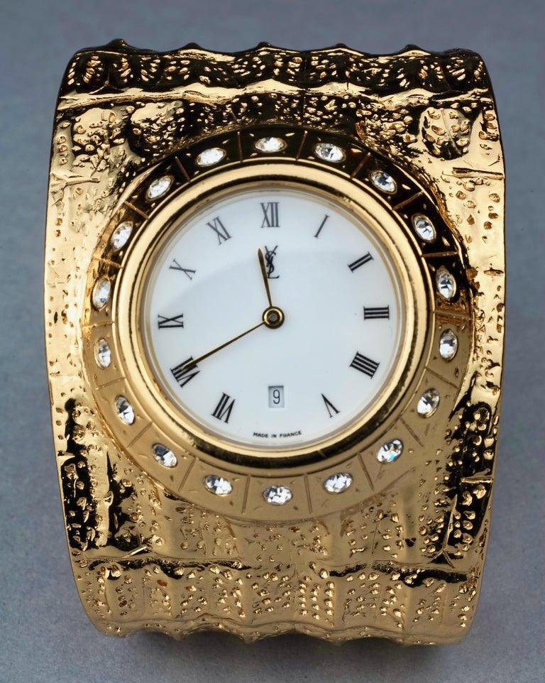 Women's Vintage YVES SAINT LAURENT Ysl Crocodile Pattern Bracelet Cuff Watch Limited Ed For Sale