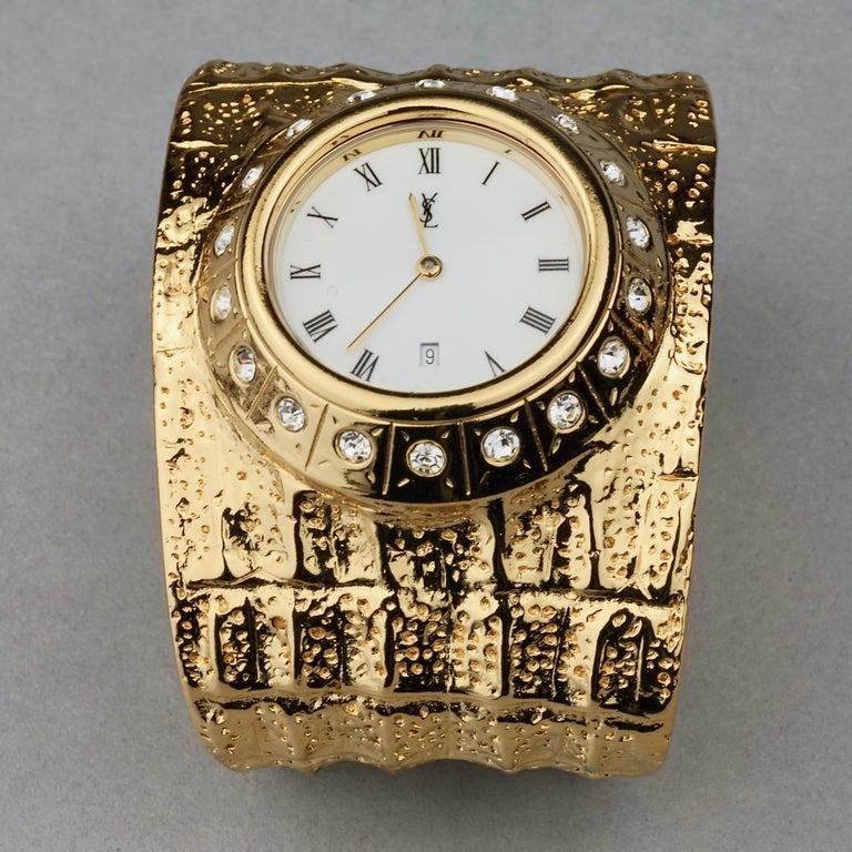 Vintage YVES SAINT LAURENT Ysl Crocodile Pattern Bracelet Cuff Watch Limited Ed For Sale 1