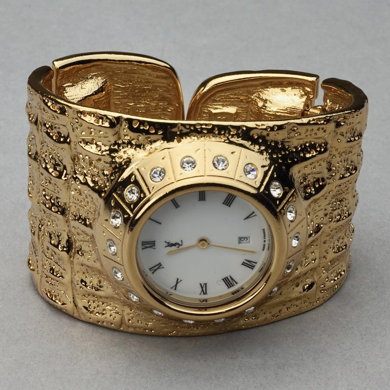 Vintage YVES SAINT LAURENT Ysl Crocodile Pattern Bracelet Cuff Watch Limited Ed For Sale 2
