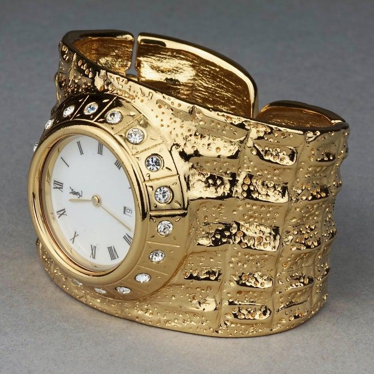 Vintage YVES SAINT LAURENT Ysl Crocodile Pattern Bracelet Cuff Watch Limited Ed For Sale 3