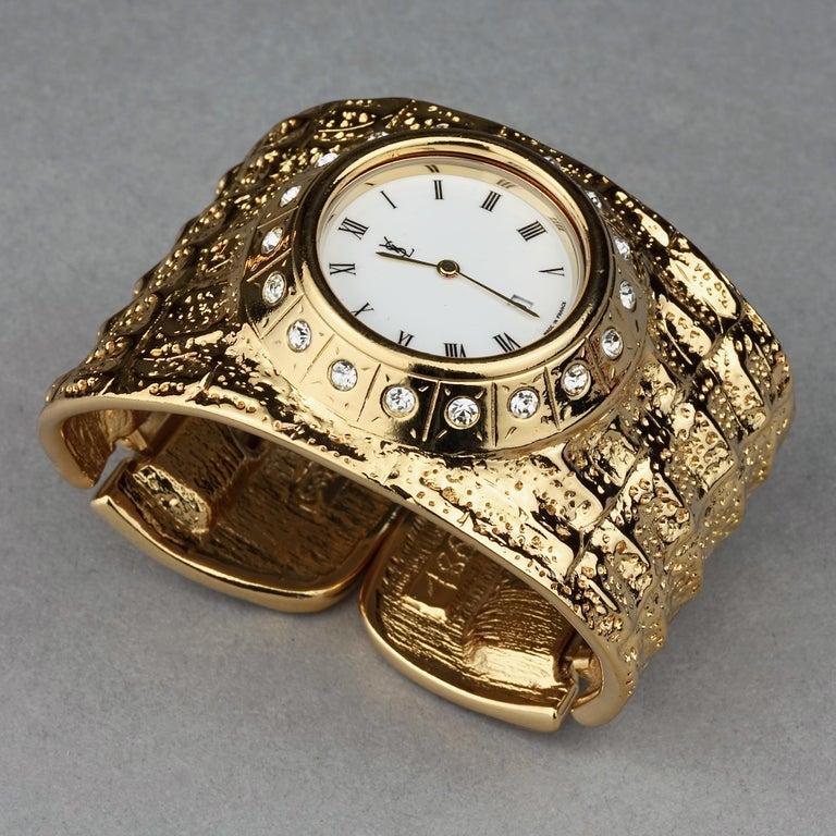 Vintage YVES SAINT LAURENT Ysl Crocodile Pattern Bracelet Cuff Watch Limited Ed For Sale 4