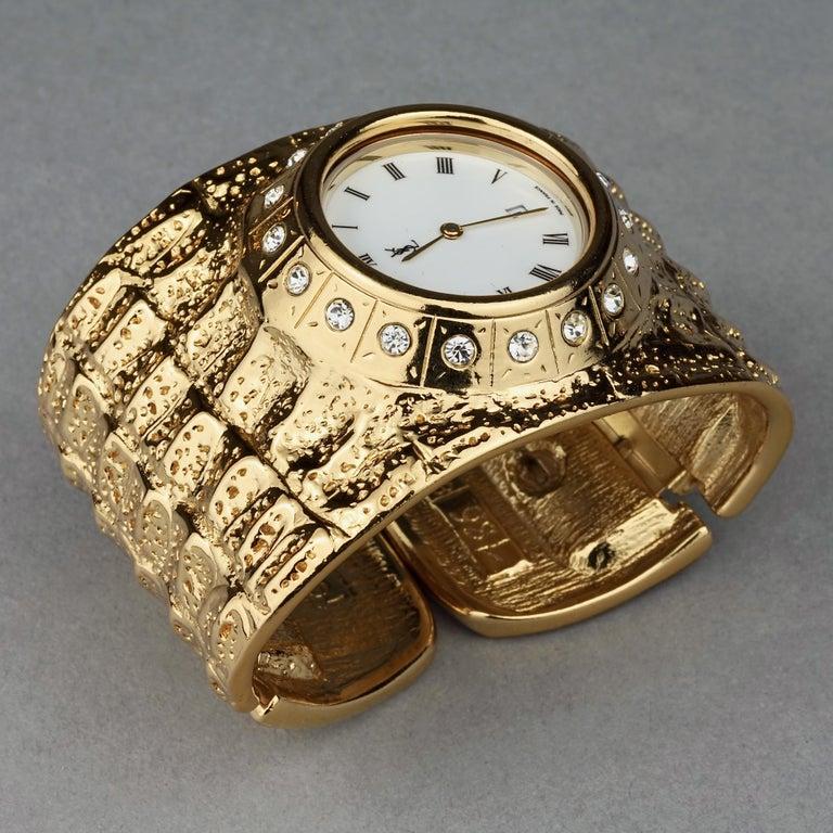Vintage YVES SAINT LAURENT Ysl Crocodile Pattern Bracelet Cuff Watch Limited Ed For Sale 5