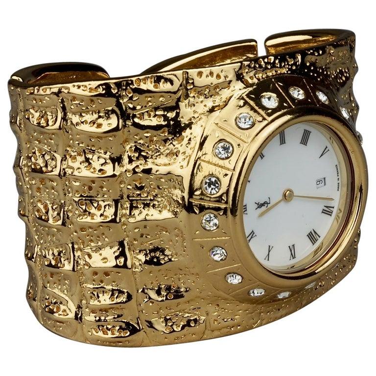 Vintage YVES SAINT LAURENT Ysl Crocodile Pattern Bracelet Cuff Watch Limited Ed For Sale