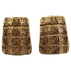 Vintage YVES SAINT LAURENT Ysl Crocodile Pattern Earrings
