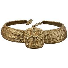 Vintage YVES SAINT LAURENT Ysl Crocodile Scale Necklace