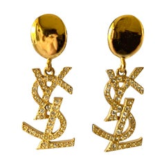 Vintage Yves Saint Laurent YSL  Diamante Logo Statement Earrings