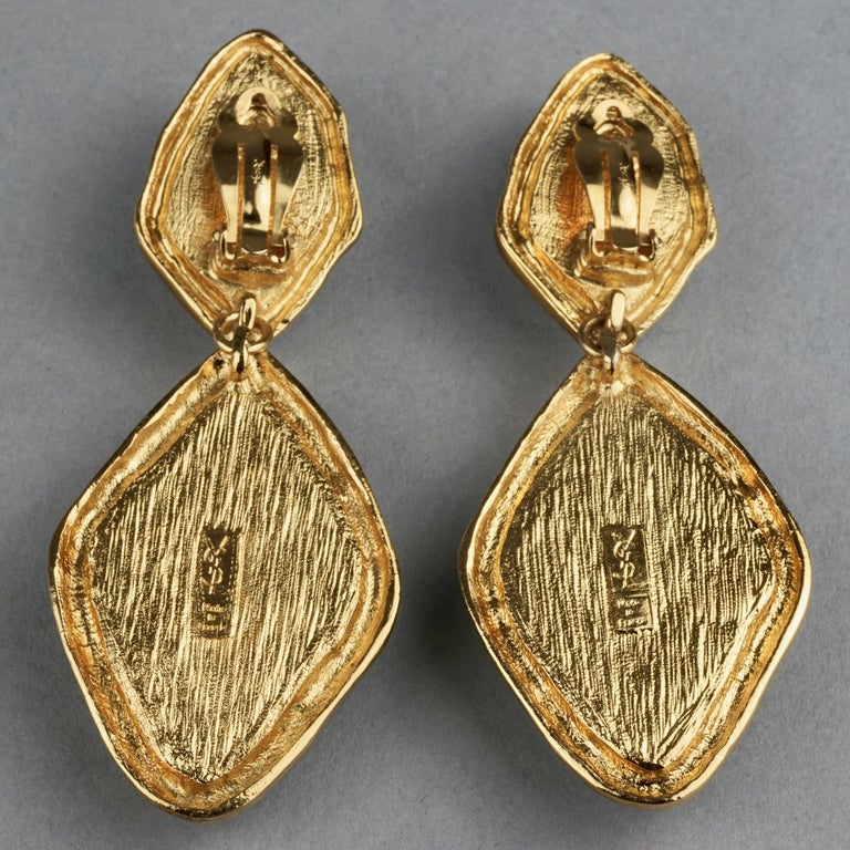 Vintage YVES SAINT LAURENT Ysl Diamond Resin Dangling Earrings For Sale 6