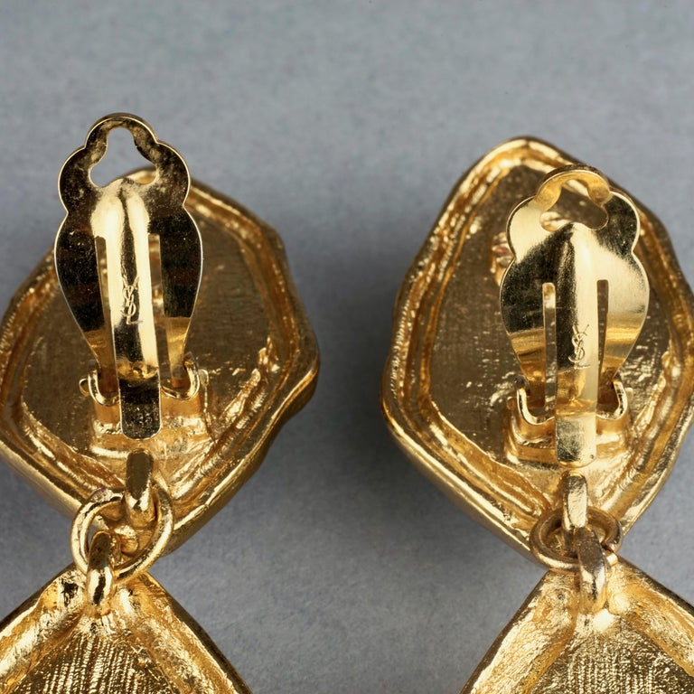 Vintage YVES SAINT LAURENT Ysl Diamond Resin Dangling Earrings For Sale 8