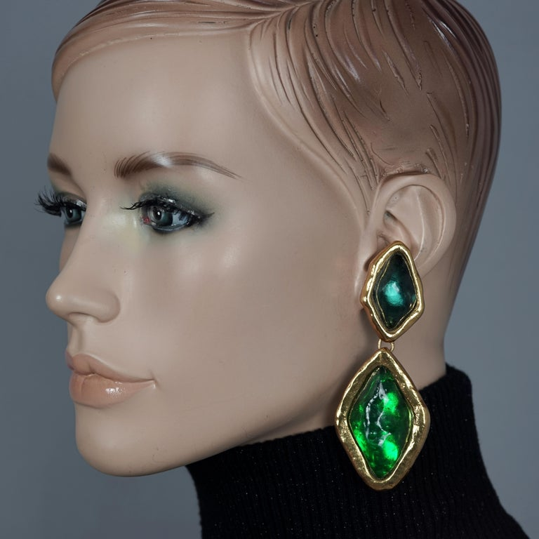 Vintage YVES SAINT LAURENT Ysl Diamond Resin Dangling Earrings  Measurements: Height: 3.54 inches (9 cm) Width: 1.37 inches (3.5 cm) Weight per Earring: 32 grams  Features: - 100% Authentic YVES SAINT LAURENT. - Massive diamond resin dangling