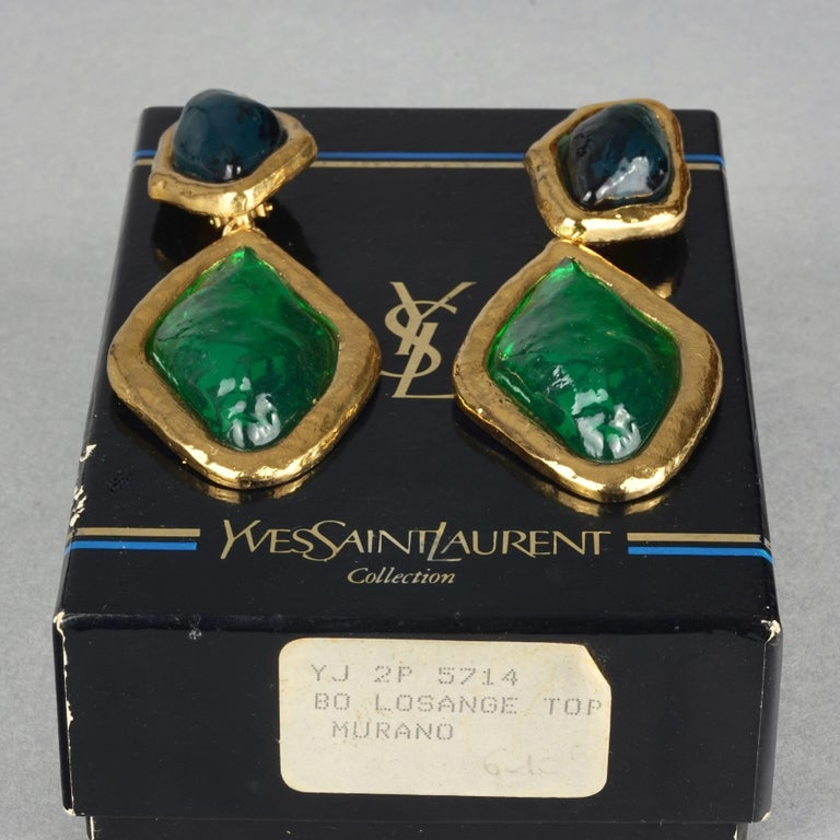 Vintage YVES SAINT LAURENT Ysl Diamond Resin Dangling Earrings In Excellent Condition For Sale In Kingersheim, Alsace