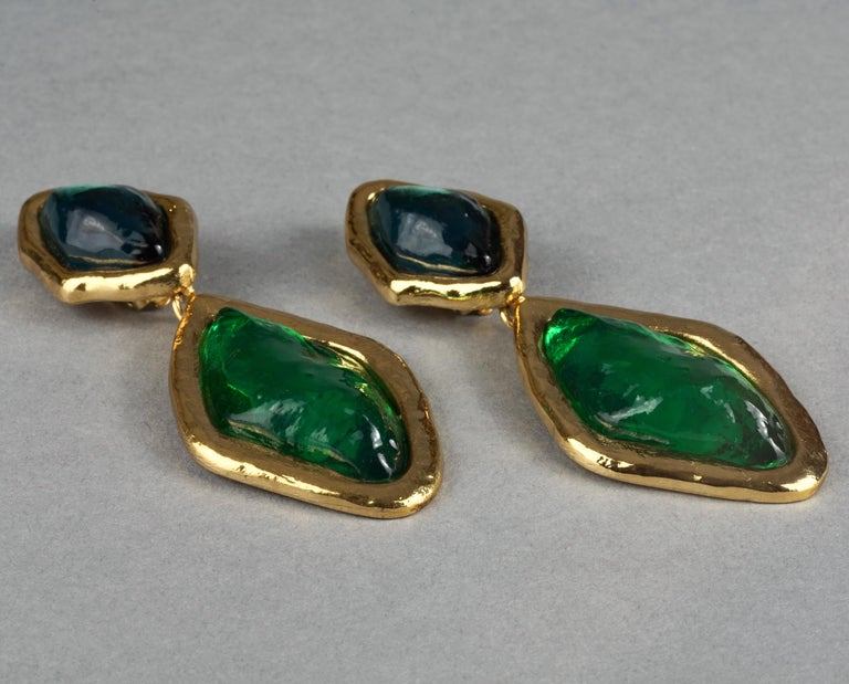 Women's Vintage YVES SAINT LAURENT Ysl Diamond Resin Dangling Earrings For Sale