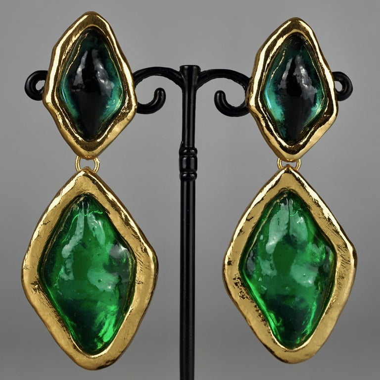 Vintage YVES SAINT LAURENT Ysl Diamond Resin Dangling Earrings For Sale 3