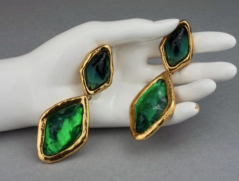 Vintage YVES SAINT LAURENT Ysl Diamond Resin Dangling Earrings For Sale 5