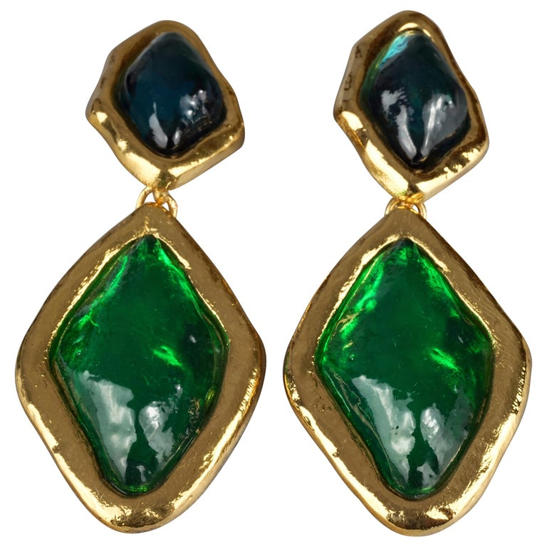 Vintage YVES SAINT LAURENT Ysl Diamond Resin Dangling Earrings For Sale